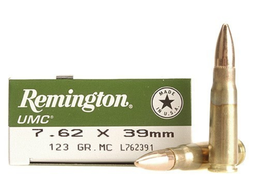 Remington UMC Ammunition 7.62x39mm 123 Grain Full Metal Jacket Box of 20