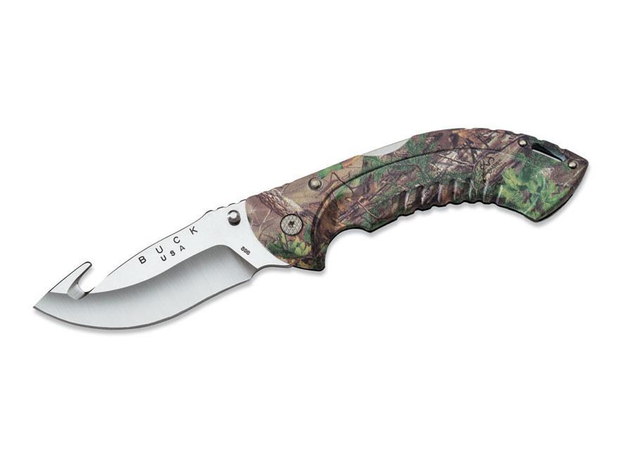 "Buck 398 Omni Hunter 12 PT Guthook Folding Knife 4"" Drop Point 420HC Stainless Steel Ru..."