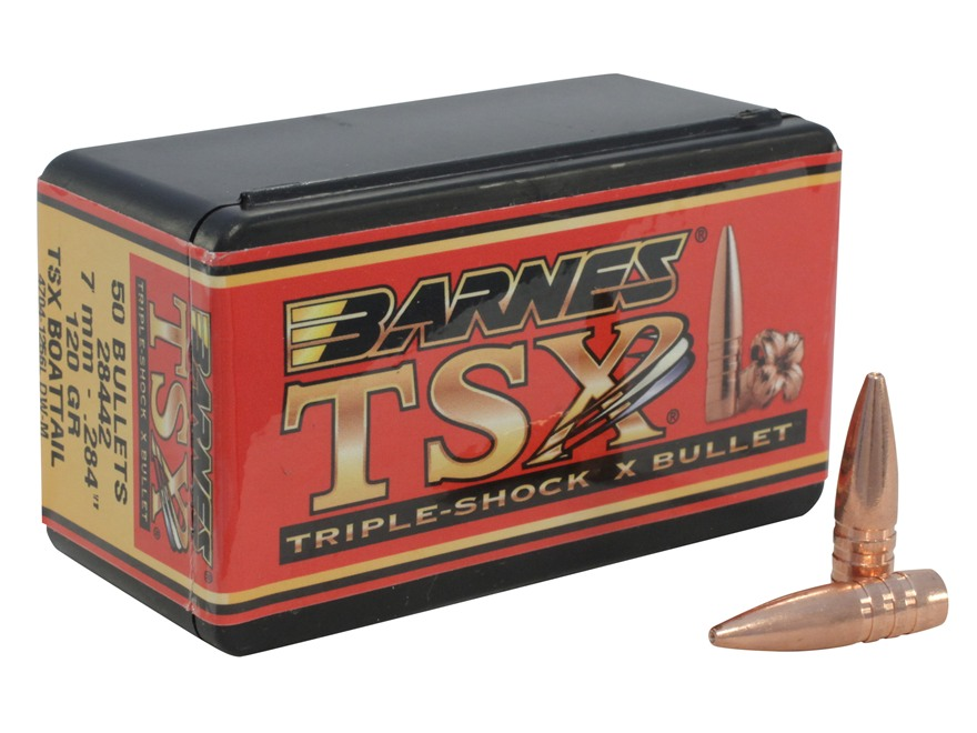 Barnes Triple-Shock X (TSX) Bullets 284 Caliber, 7mm (284 Diameter) 120 Grain Hollow Po...