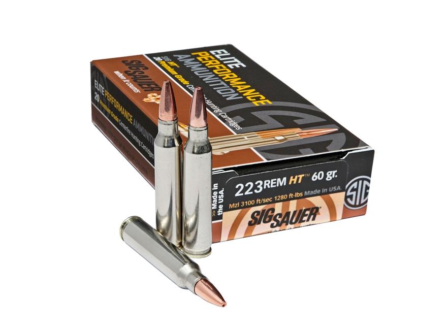 Sig Sauer Elite Performance Hunting HT Ammunition 223 Remington 60 Grain Solid Copper E...