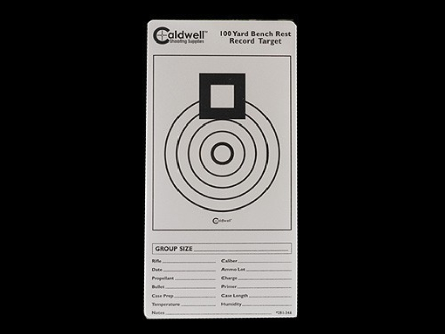 "Caldwell 100 Yard Benchrest Record Target 3"" x 6"" Pack of 10 Sheets 1 per Sheet White"