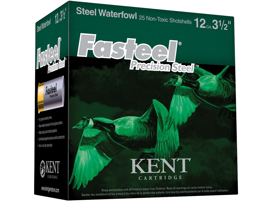 "Kent Cartridge Fasteel Precision Steel Waterfowl Ammunition 12 Gauge 3-1/2"" 1-3/8 oz BB..."