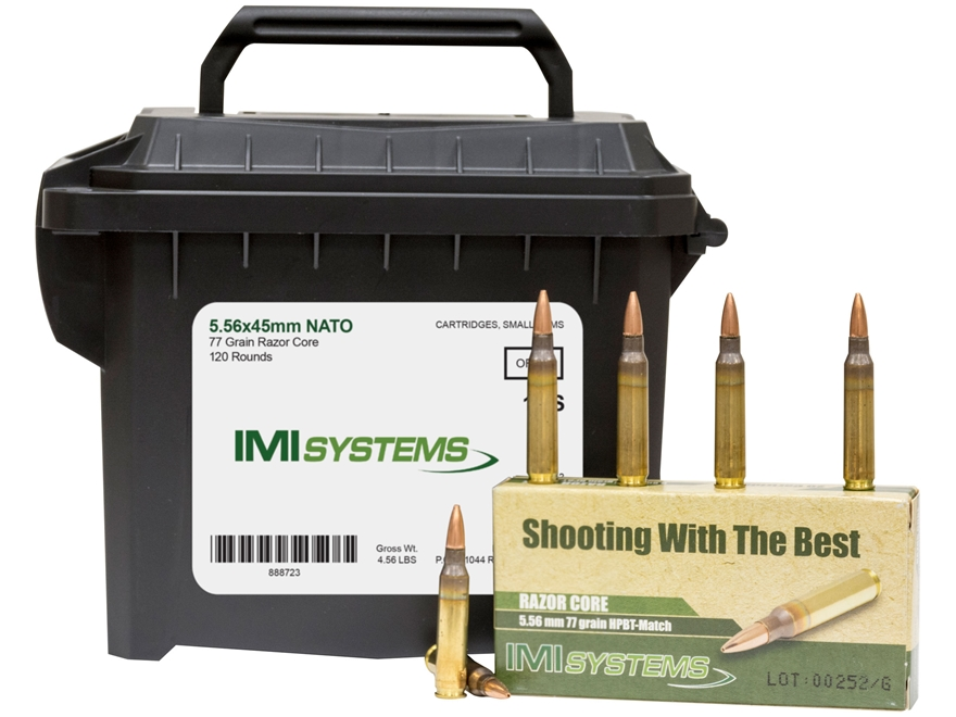 IMI Ammunition 5.56x45mm 77 Grain Razor Core (Sierra MatchKing Hollow Point) Ammo Can o...