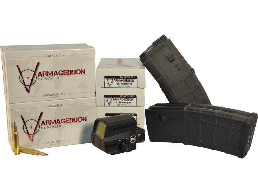 Leupold Carbine Optic (LCO) Blacked Out Red Dot Sight, Nosler Varmageddon 223 Ammo and ...