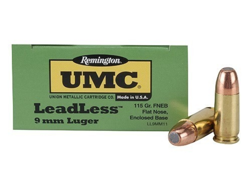 Remington UMC Ammunition 9mm Luger 115 Grain Flat Nose Enclosed Base Box of 50