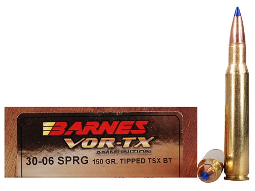 Barnes VOR-TX Ammunition 30-06 Springfield 150 Grain Tipped Triple-Shock X Bullet Boat ...