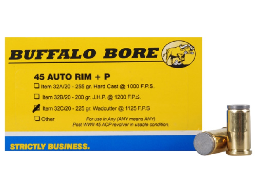 Buffalo Bore Ammunition 45 Auto Rim (Not ACP) +P 225 Grain Hard Cast Lead Wadcutter Box...