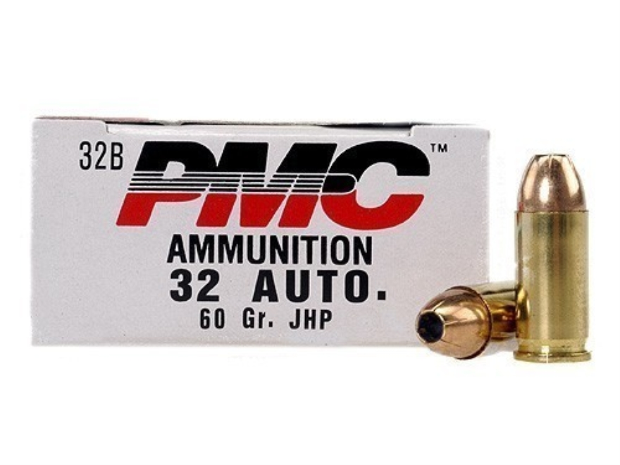 PMC Bronze Ammunition 32 ACP 60 Grain Jacketed Hollow Point Box of 50
