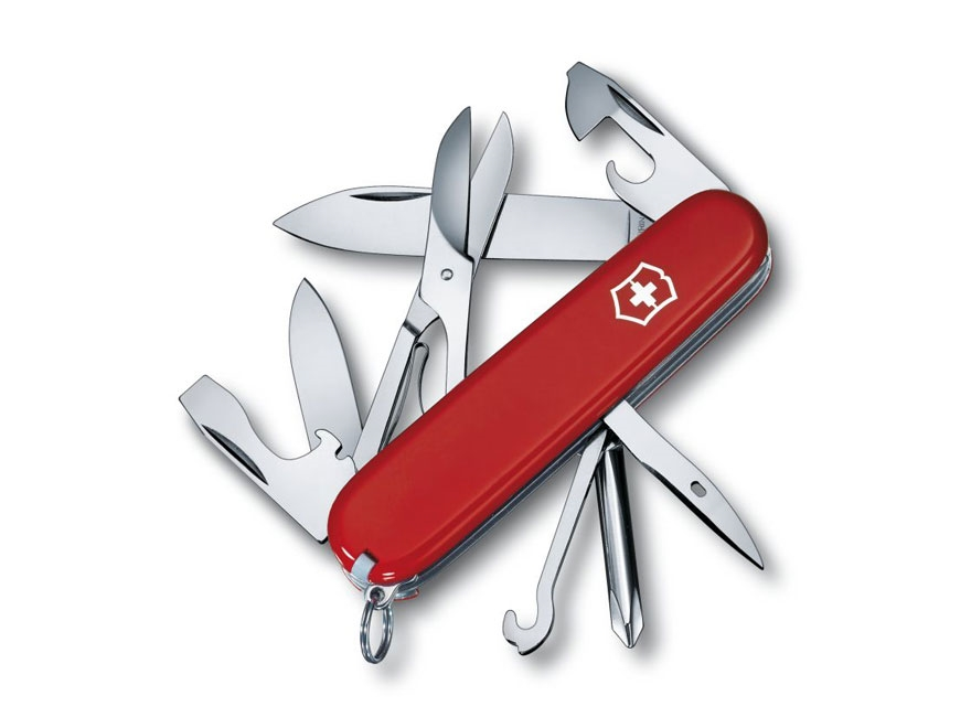 Victorinox Swiss Army Super Tinker Folding Pocket Knife 14 Function Stainless Steel Bla...