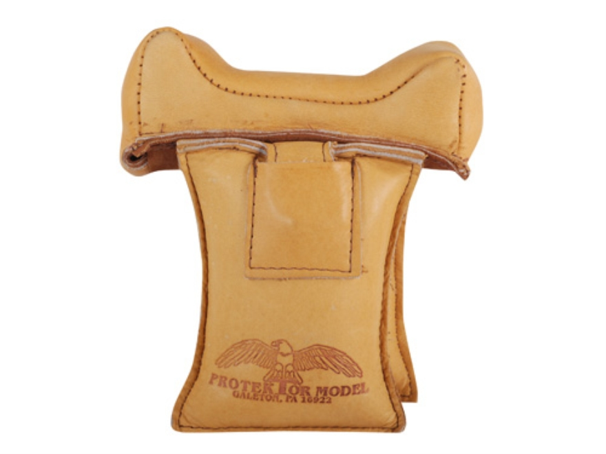 Protektor Wide Owl Ear Straddle Shooting Rest Bag Leather Tan Filled