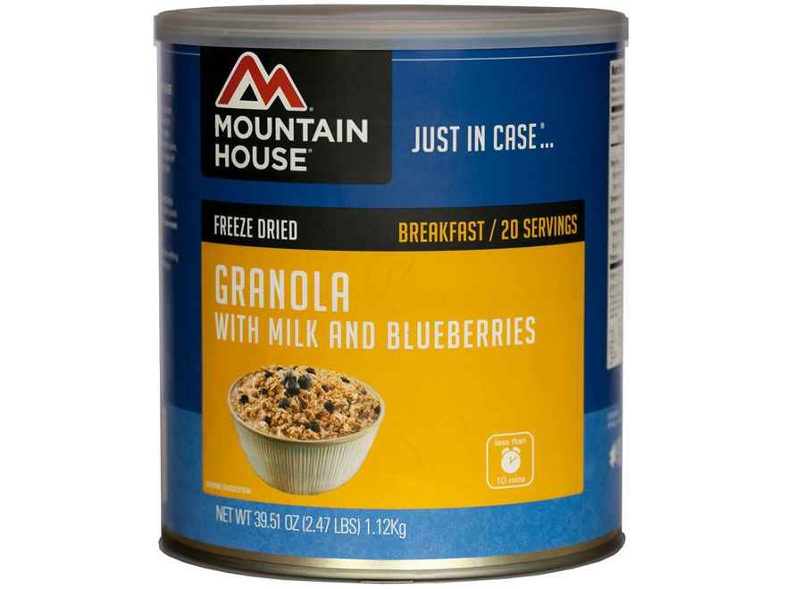 Mountain House 20 Serving Granola with Milk & Blueberries Freeze Dried Food #10 Can