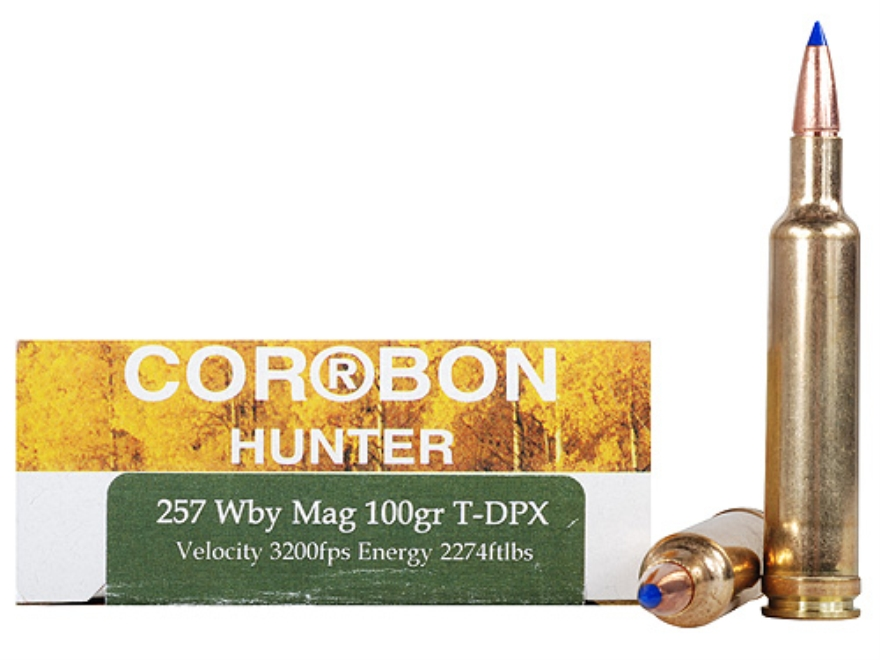Cor-Bon DPX Hunter Ammunition 257 Weatherby Magnum 100 Grain Tipped DPX Lead-Free Box o...