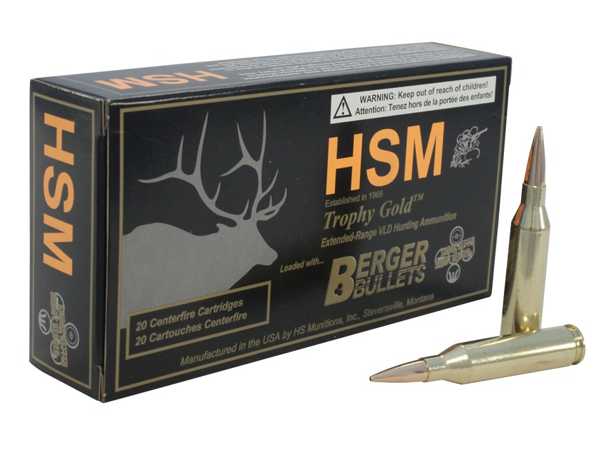 HSM Trophy Gold Ammunition 243 Winchester 95 Grain Berger Hunting VLD Hollow Point Boat...