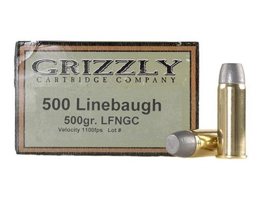 Grizzly Ammunition 500 Linebaugh 500 Grain Cast Performance Lead Long Flat Nose Gas Che...