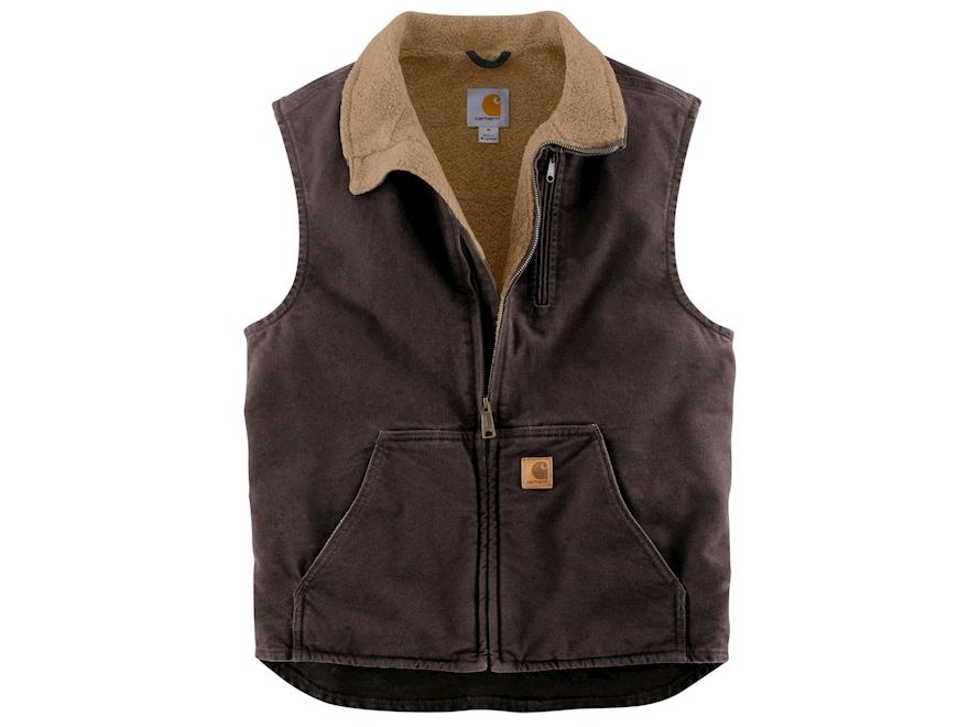 Carhartt Men's Sandstone Mock Neck Sherpa Lined Vest Cotton