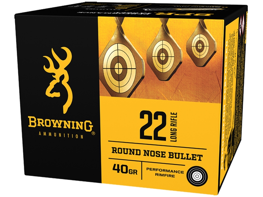 Browning BPR Ammunition 22 Long Rifle 40 Grain Black Plated Lead Round Nose