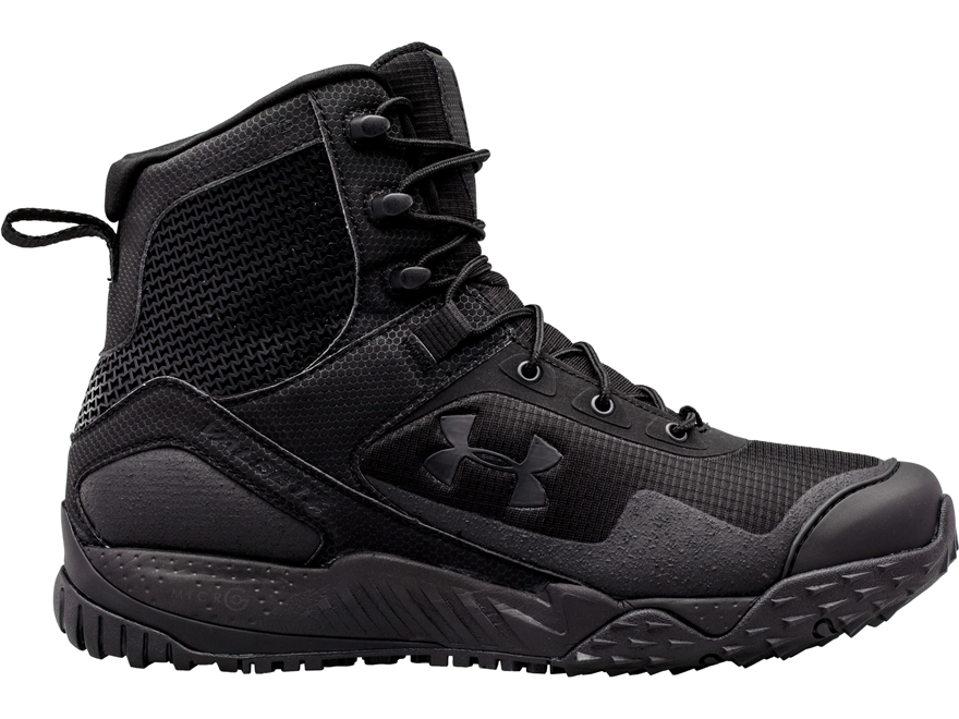 """Under Armour UA Valsetz RTS Side Zip 7"""" Tactical Boots Leather and Nylon Black Men's"""