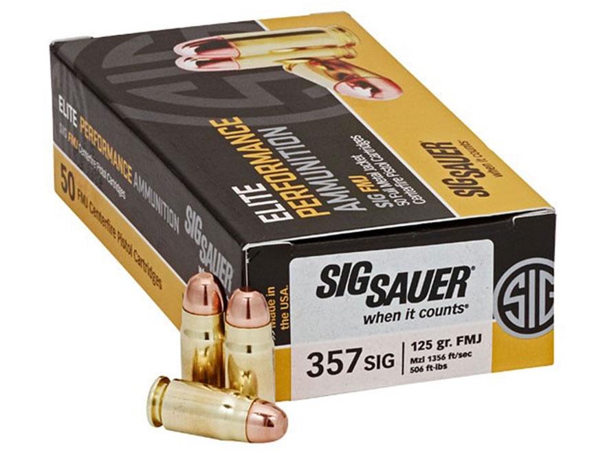 Sig Sauer Elite Performance Ammunition 357 Sig 125 Grain Full Metal Jacket Box of 50