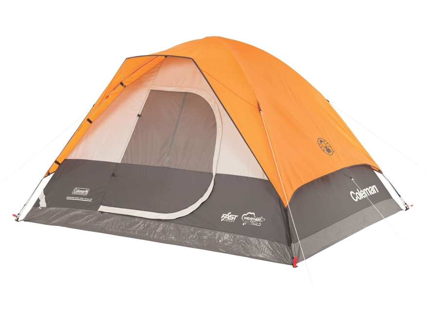 "Coleman Moraine Park Fast Pitch 4 Person Dome Tent 108"" x 84"" x 59"" Polyester Orange an..."