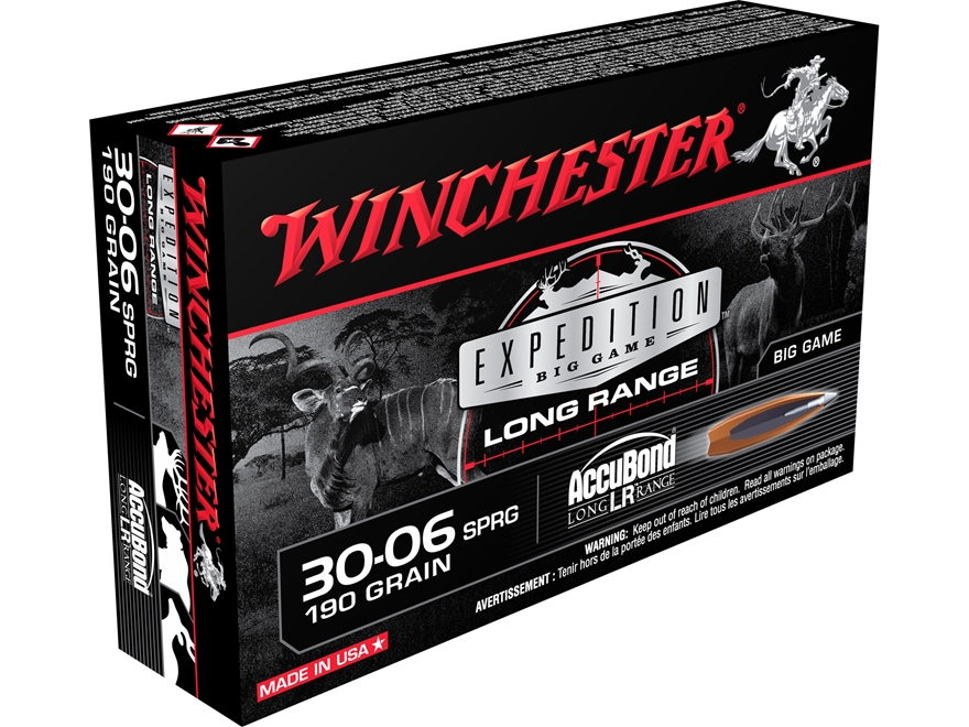 Winchester Expedition Big Game Long Range Ammunition 30-06 Springfield 190 Grain Nosler...