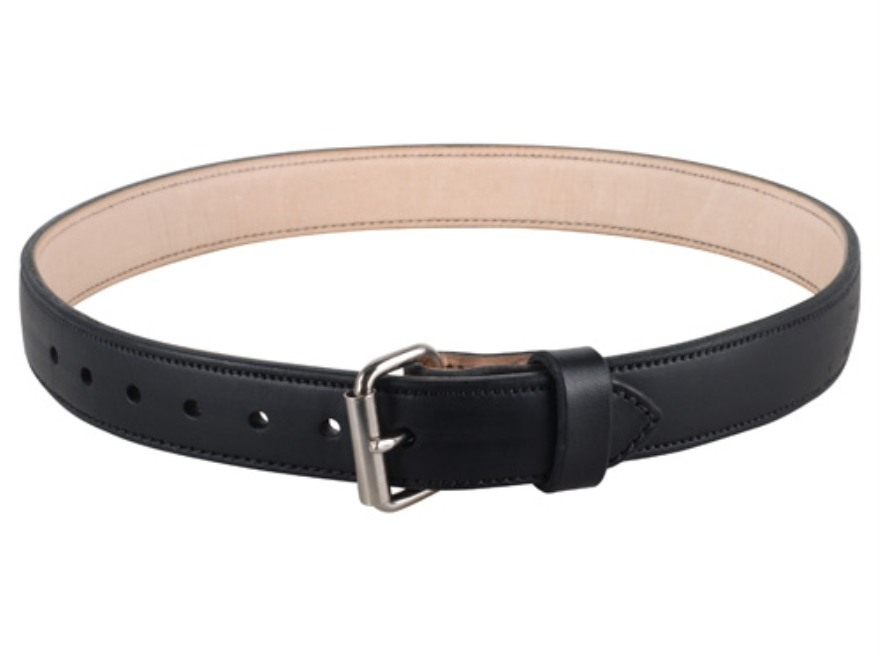 "Lenwood Leather 1400 Belt 1-1/2"" Steel Buckle Leather Black 50"""