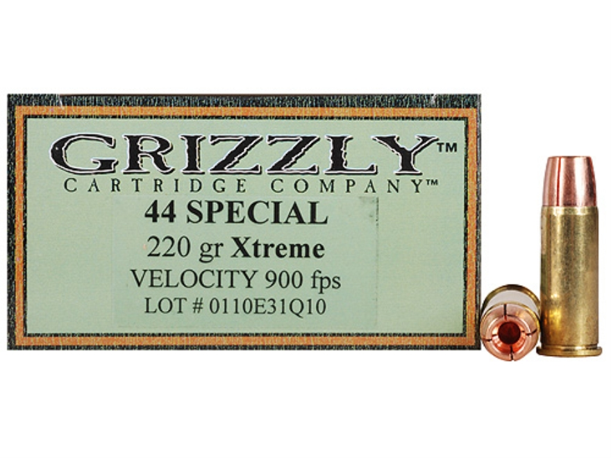 Grizzly Self-Defense Ammunition 44 Special 220 Grain Xtreme Copper Hollow Point Lead-Fr...