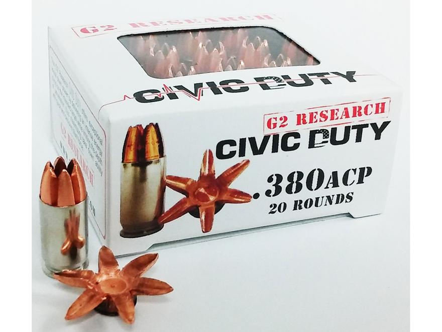 G2 Research Civic Duty Ammunition 380 ACP 64 Grain Expanding Solid Copper Lead-Free Box...