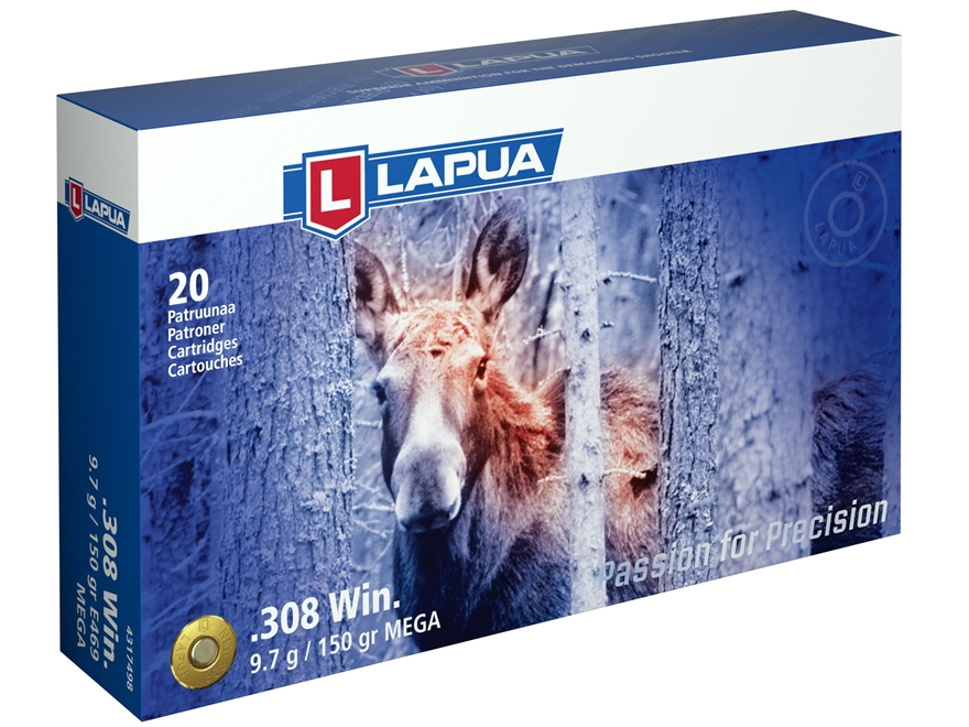 Lapua Mega Ammunition 308 Winchester 150 Grain Soft Point Box of 20