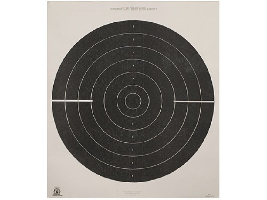 NRA Official International Pistol Targets B-37 25 Meter Rapid Fire Paper Package of 100