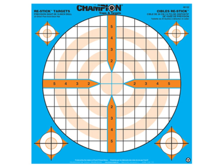 "Champion Re-Stick Precision Sight-In Self-Adhesive Targets 14.5"" x 14.5"" Paper Pack of 25"