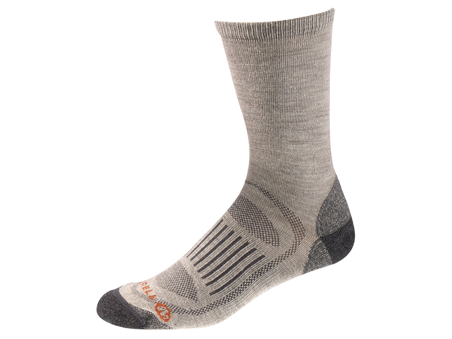 Merrell Men's Courant Solid Lightweight Hiking Crew Socks Merino Wool/Synthetic Stone M...