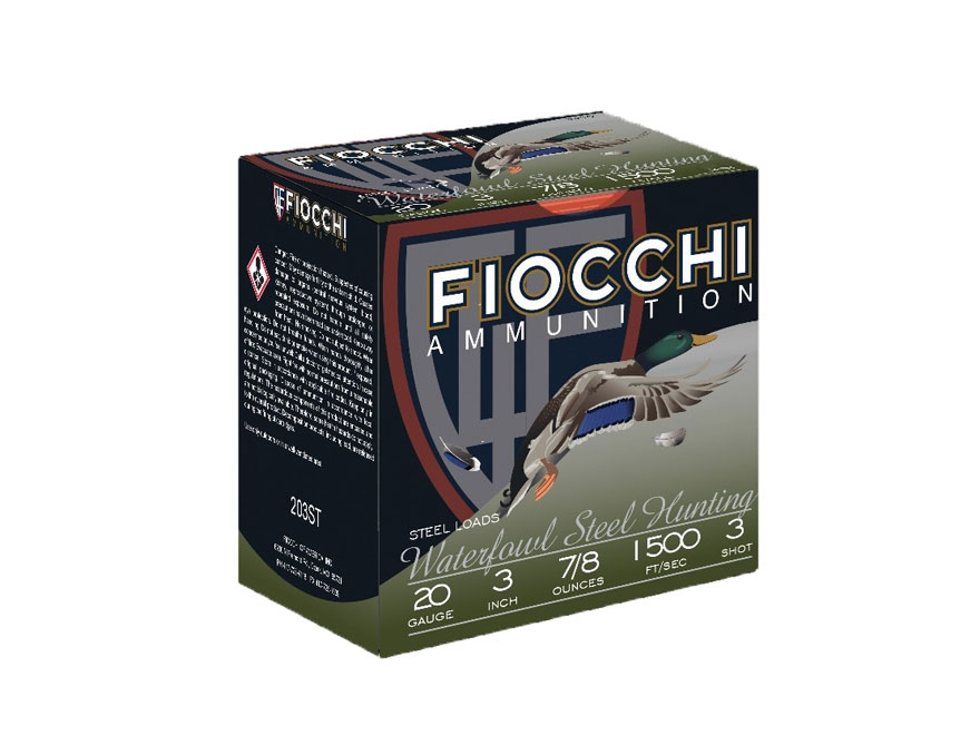 "Fiocchi High Speed Steel Ammunition 20 Gauge 3"" 7/8 oz #3 Non-Toxic Steel Shot"