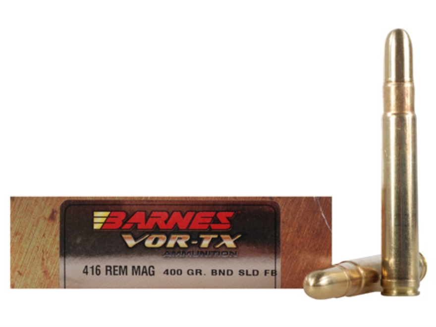 Barnes VOR-TX Safari Ammunition 416 Remington Magnum 400 Grain Banded Solid Round Nose ...
