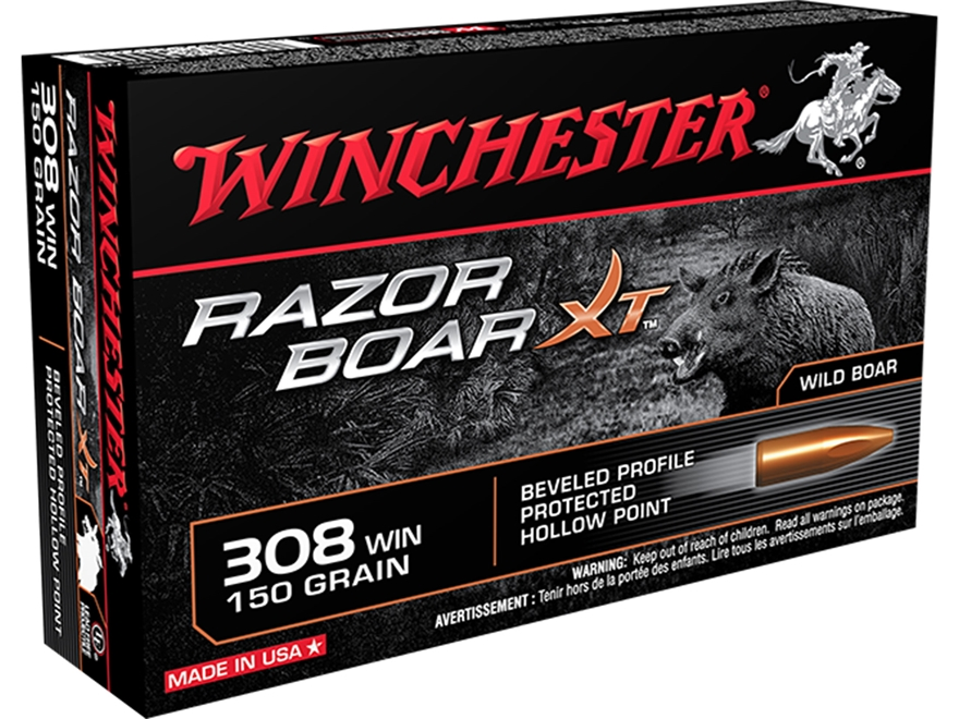 Winchester Razor Boar XT Ammunition 308 Winchester 150 Grain Hollow Point Lead-Free