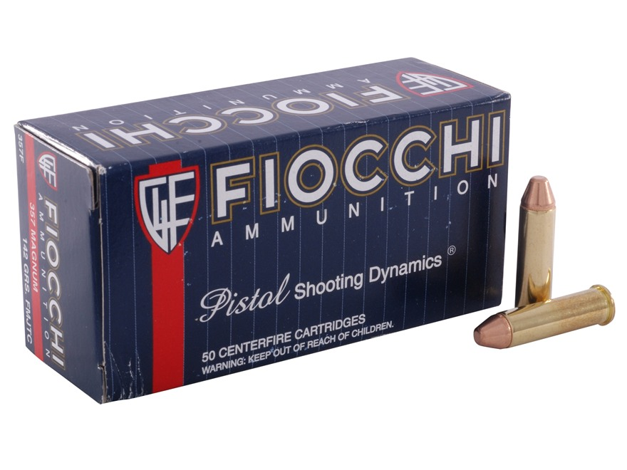 Fiocchi Shooting Dynamics Ammunition 357 Magnum 142 Grain Full Metal Jacket Truncated C...