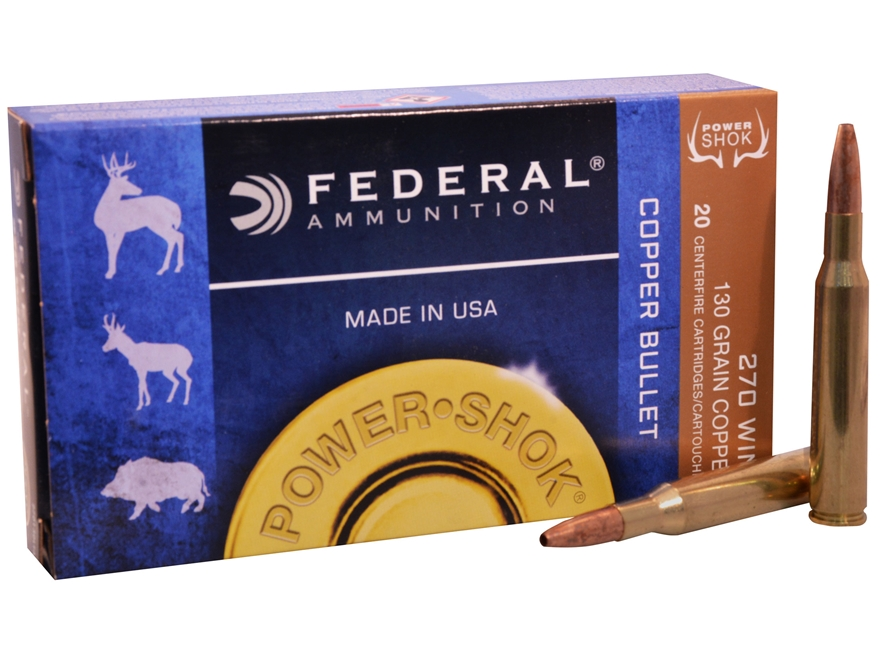 Federal Power-Shok Ammunition 270 Winchester 130 Grain Copper Hollow Point Lead-Free