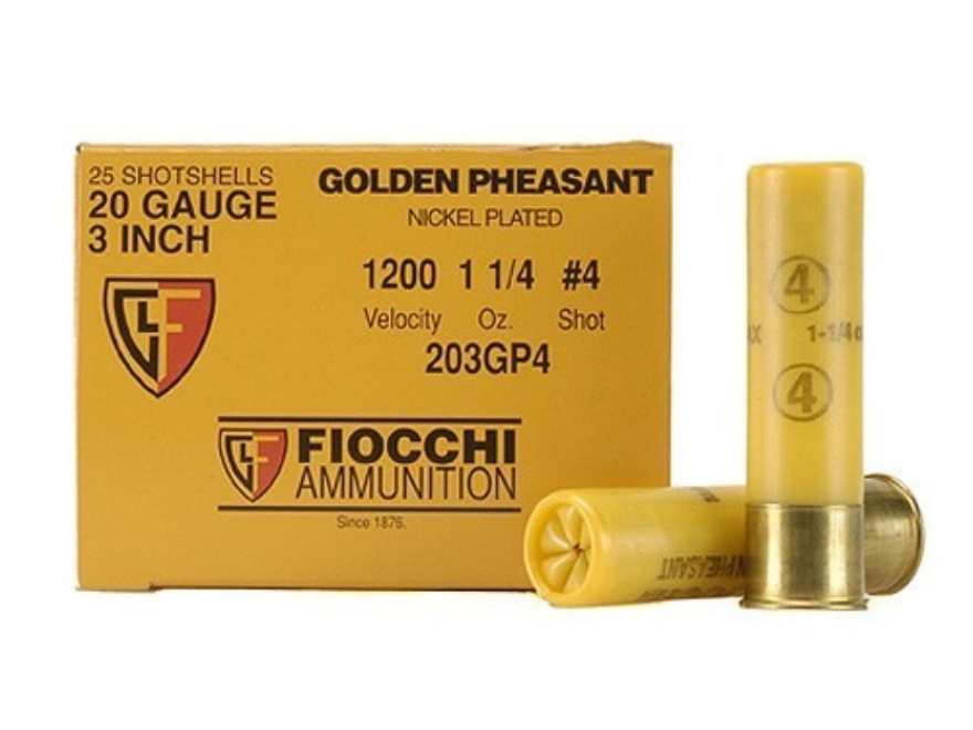 "Fiocchi Golden Pheasant Ammunition 20 Gauge 3"" 1-1/4 oz #4 Nickel Plated Shot Box of 25"
