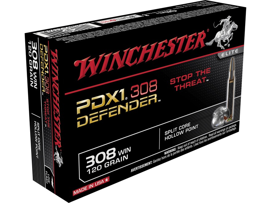 Winchester PDX1 Defender Ammunition 308 Winchester 120 Grain Jacketed Hollow Point