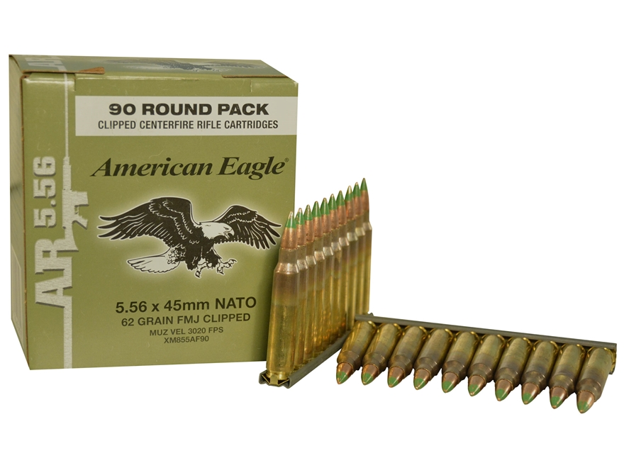 Federal American Eagle Ammunition 5.56x45mm NATO 62 Grain XM855 SS109 Penetrator Full M...