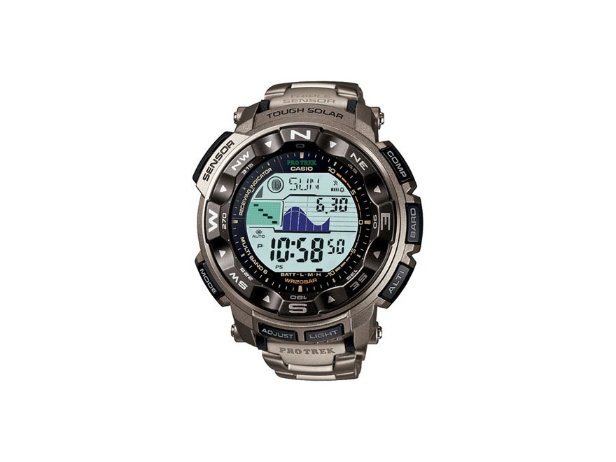 Casio Pro Trek Atomic Triple Sensor Solar Watch Titanium Band