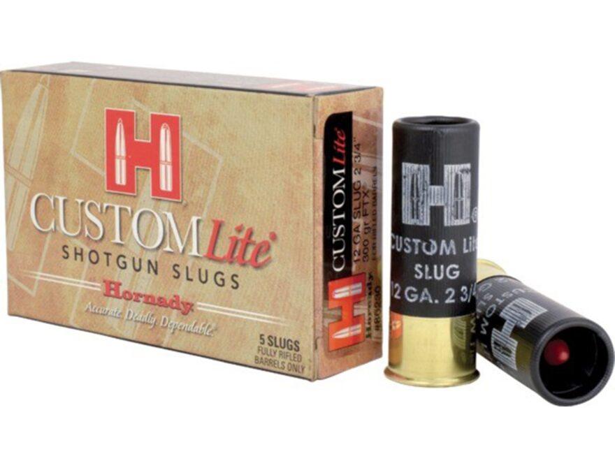 """Hornady Custom Lite Ammunition 12 Gauge 2-3/4"""" 300 Grain Flex Tip eXpanding Sabot Slug ..."""