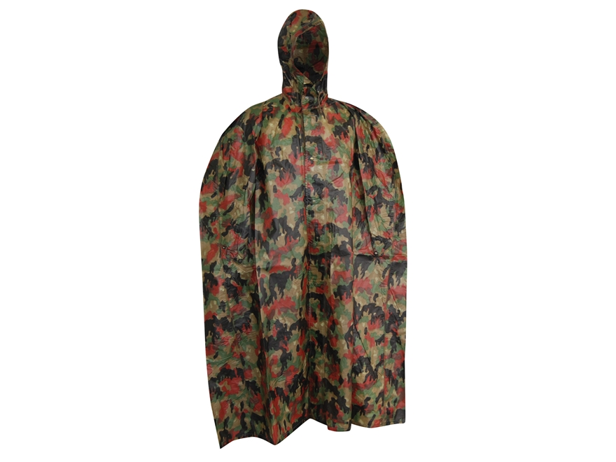 Military Surplus Swiss Wet Weather Poncho Swiss Camo