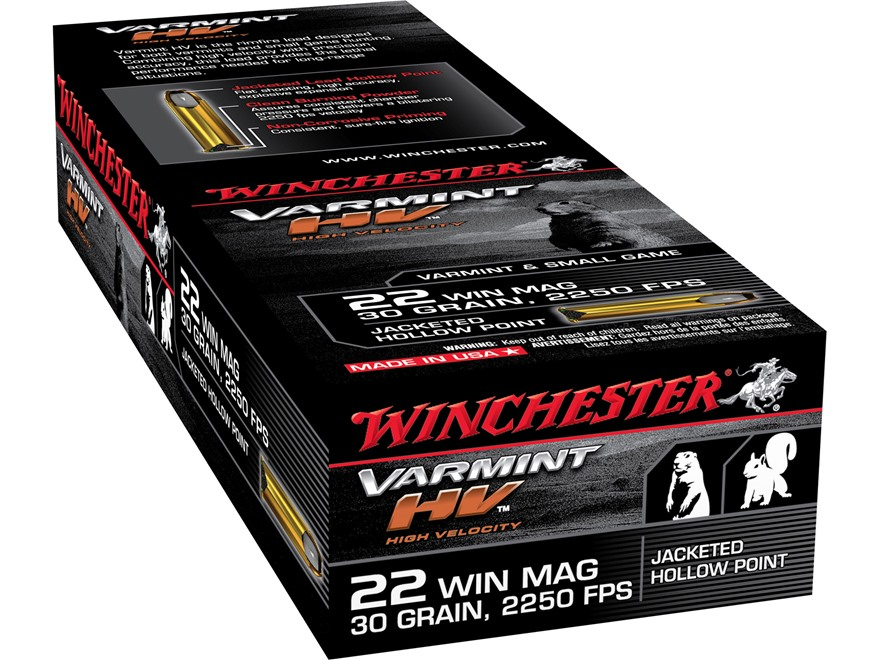 Winchester Ammunition 22 Winchester Magnum Rimfire (WMR) 30 Grain Jacketed Hollow Point...