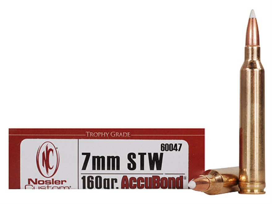 Nosler Trophy Grade Ammunition 7mm STW 160 Grain AccuBond Box of 20
