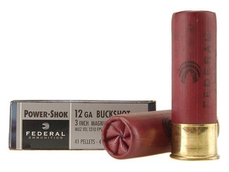 """Federal Power-Shok Ammunition 12 Gauge 3"""" Buffered #4 Buckshot 41 Pellets Box of 5"""