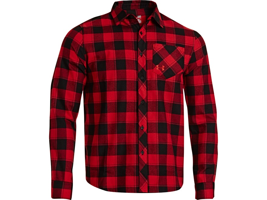 Under armour men 39 s stockton flannel shirt long upc for Polyester lined flannel shirts