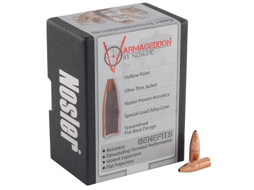 Nosler Varmageddon Bullets 22 Caliber (224 Diameter) 62 Grain Hollow Point Flat Base