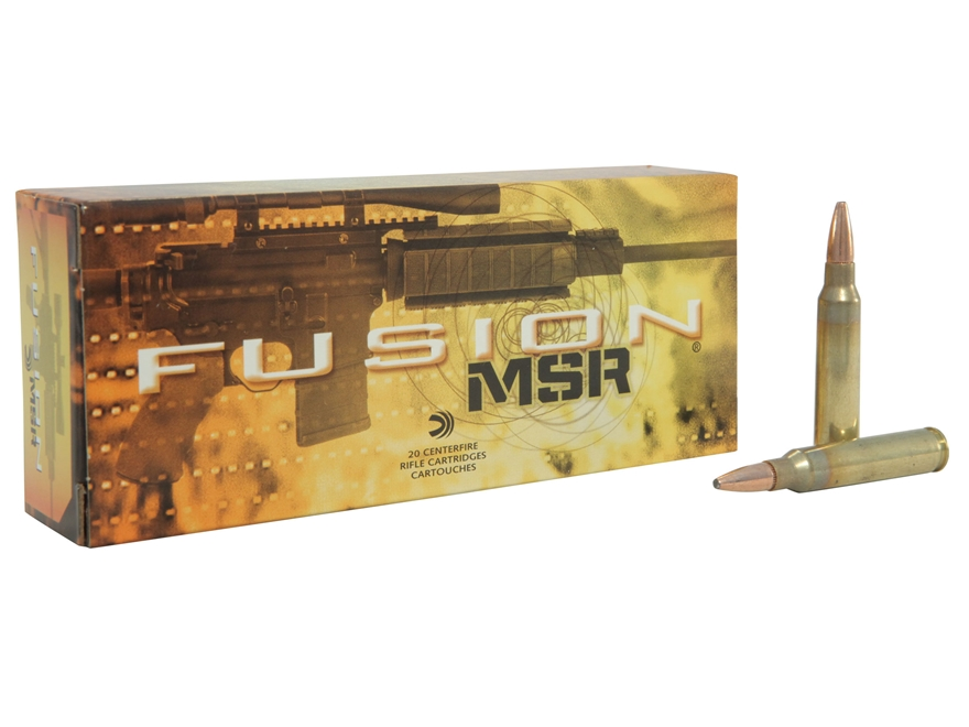 Federal Fusion Modern Sporting Rifle Ammunition 223 Remington 62 Grain Spitzer Boat Tai...