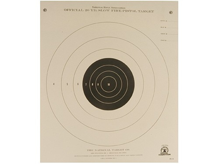 NRA Official Pistol Targets B-4 20 Yard Slow Fire Paper Pack of 100