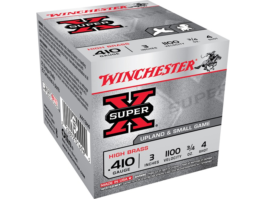 "Winchester Super-X High Brass Ammunition 410 Bore 3"" 3/4 oz #4 Shot"